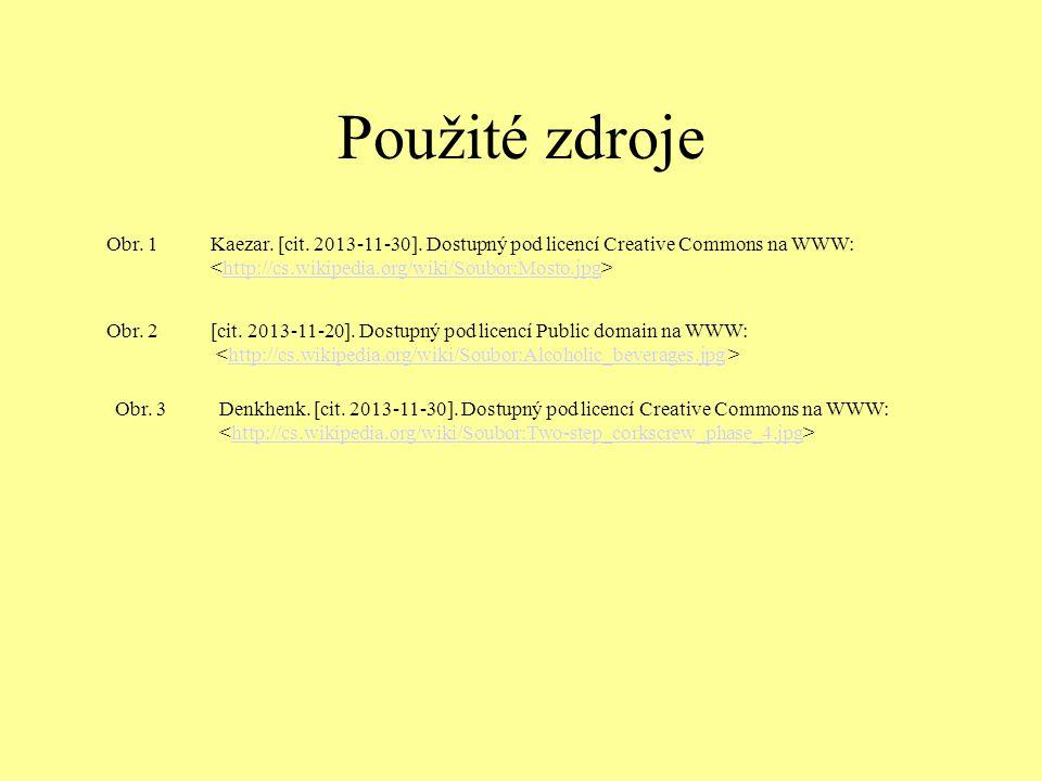 Použité zdroje Obr. 1 Kaezar. [cit. 2013-11-30]. Dostupný pod licencí Creative Commons na WWW: <http://cs.wikipedia.org/wiki/Soubor:Mosto.jpg>